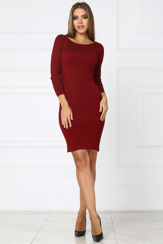 91a5364809c Бордовое короткое трикотажное платье