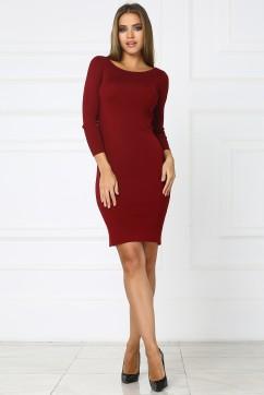 Бордовое короткое трикотажное платье