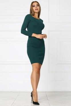 Зеленое короткое трикотажное платье