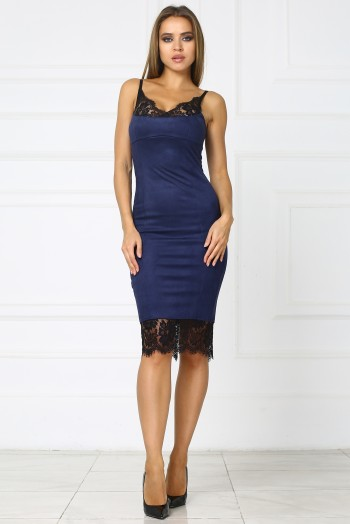 Темно-синее платье комбинация из замши