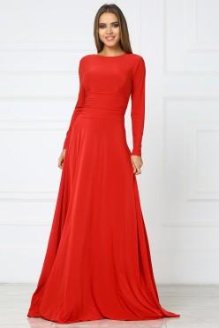 Вечерние красное платье в пол