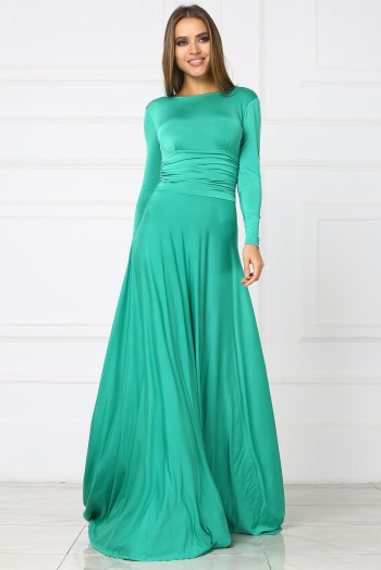 Вечернее зеленое платье в пол