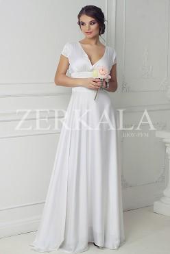 Вечернее платье, цвет белый. Ткань шелк-атлас.