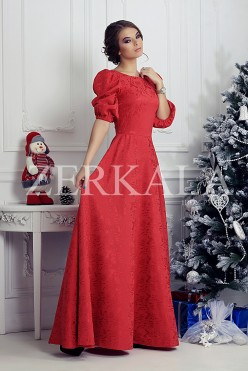 Красное платье в пол. Ткань жаккард.