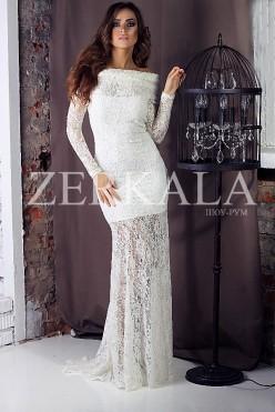Длинное белое гипюровое кружевное платье в пол