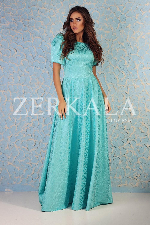 Бирюзовое длинное платье в пол фото