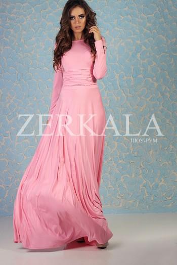 Розовое платье в пол с длинными рукавами