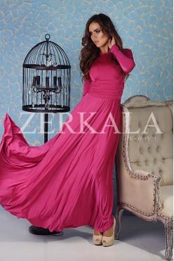 Вечернее платье с длинным рукавом фуксия