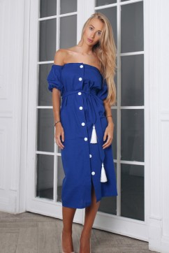 Синее льняное платье миди