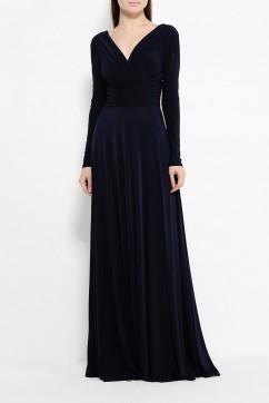 Вечернее платье c вырезом на груди в пол, цвет черный