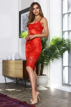 Красное кружевное платье миди на брителях