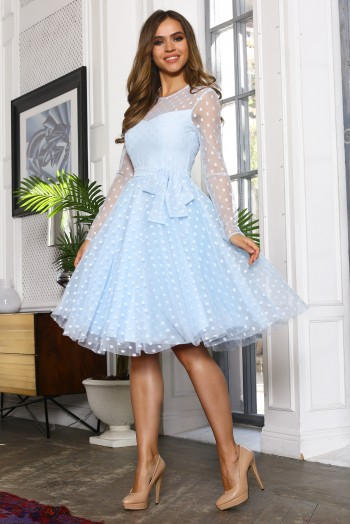 Голубое платье миди из сетки в горох