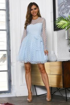 Голубое платье мини из сетки в горох