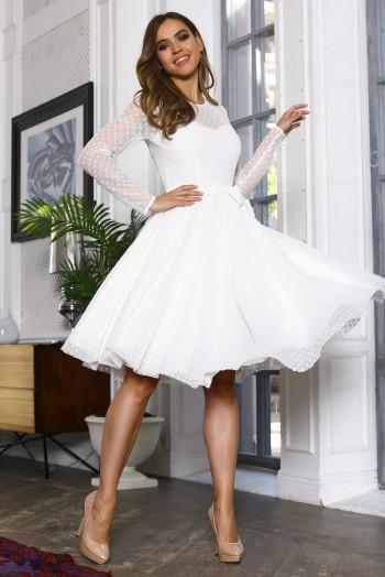 Белое платье миди из сетки в горох