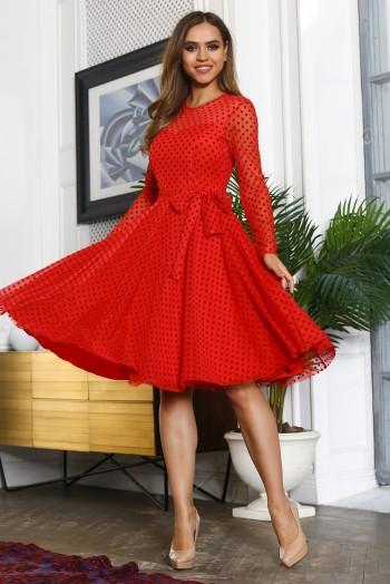 Красное  платье миди из сетки в горошек