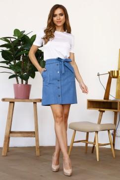Голубая мини юбка с пояском