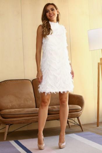Белое пушистое мини платье