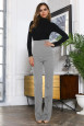 Светло -серые брюки с завышенной талией