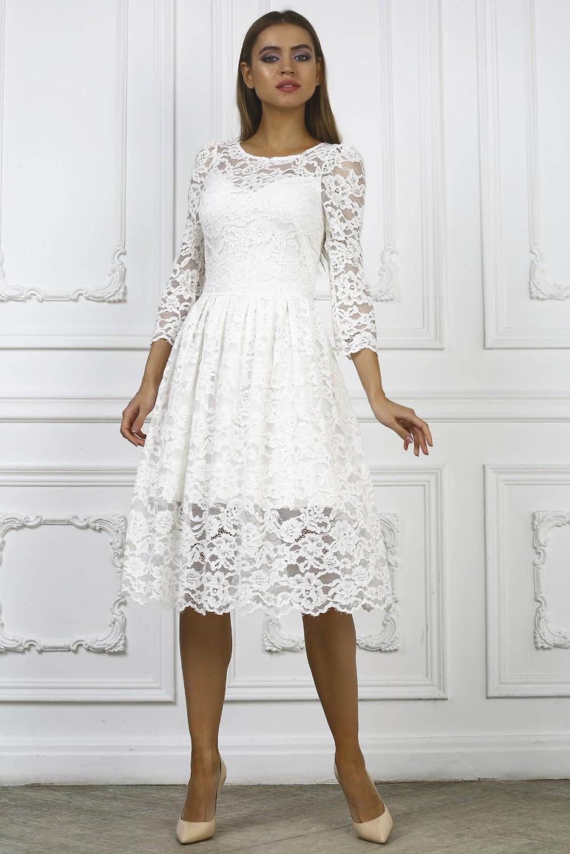 платье кружевное белое фото