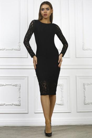 Черное гипюровое платье миди с длинными рукавами