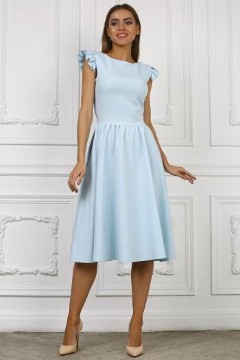 """Голубое платье миди """"с крылышками"""""""
