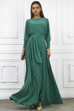Платье с поясом в пол, цвет зеленый