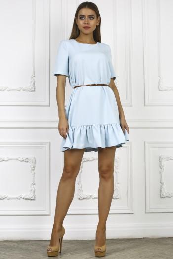 Голубое летнее платье с короткими рукавами