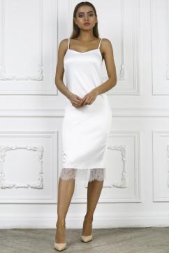 Белое платье комбинация с кружевом