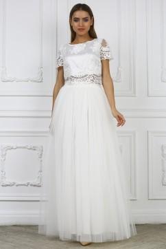 Белая юбка макси из сетки
