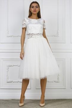 Белая юбка миди из сетки