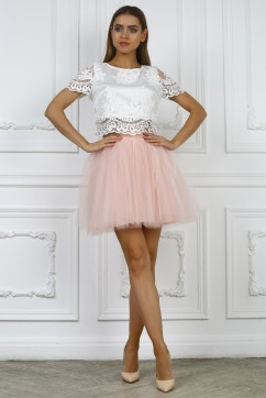 Розовая юбка мини из сетки