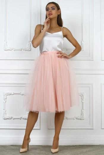 Розовая юбка миди из сетки