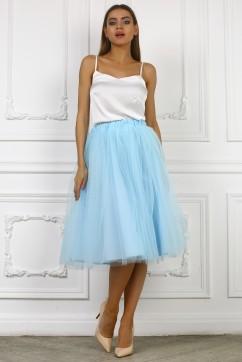 Голубая юбка миди из сетки