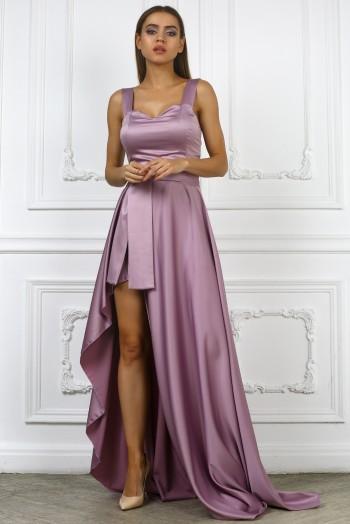 Вечернее серое платье на бретельках с открытой ногой