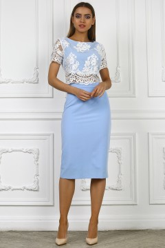 Голубой кружевной костюм, топ и юбка