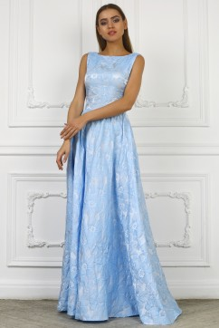 Голубое длинное платье их жаккарда без рукавов