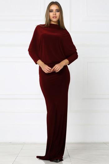 Бордовое макси платье с вырезом на спине
