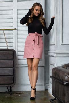 Розовая мини юбка с пояском