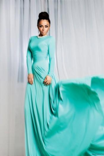 Вечернее платье в пол, цвет бирюзовый